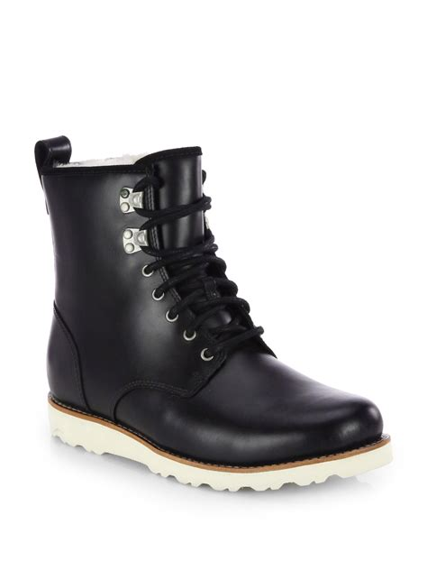 lace up ugg boots ugg hannen leather lace up boot in black for lyst