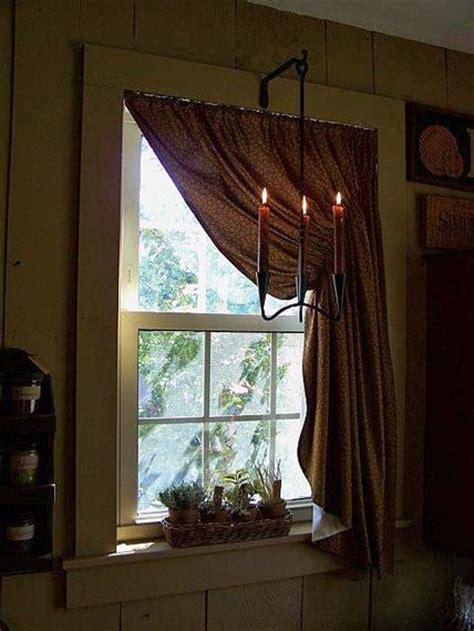 primitive window curtains prim curtains and rustic candlelight in the window