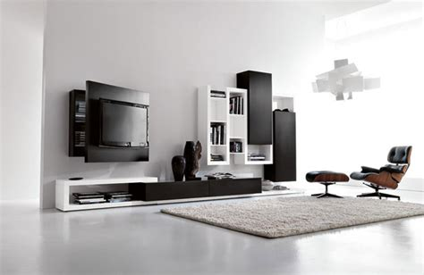 Tv Chairs Living Room Black And White Living Room Furniture With Functional Tv Stand Creative Side System By Fimar