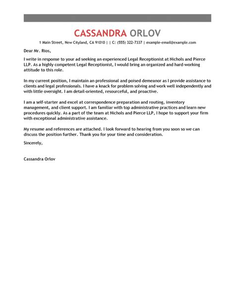 Cover Letter For Receptionist At Firm Receptionist Cover Letter