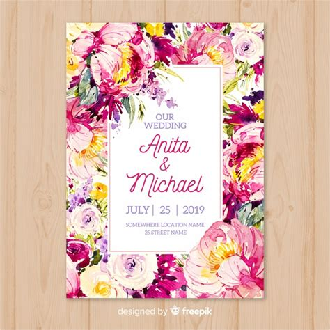 watercolor colorful flowers wedding invitation template