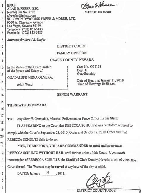 civil bench warrant california nevada elyse tyrell jared shafer s lawyer facing state