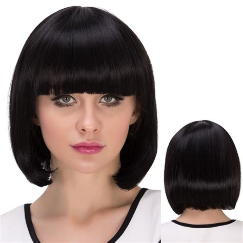 152 best images about short bob wigs for white women on 2018 short bob straight neat bang synthetic wig jet black