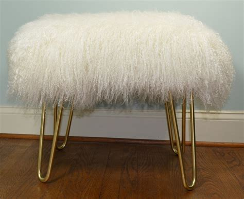 faux fur storage ottoman real natural white mongolian lamb fur bench tibet lamb stool