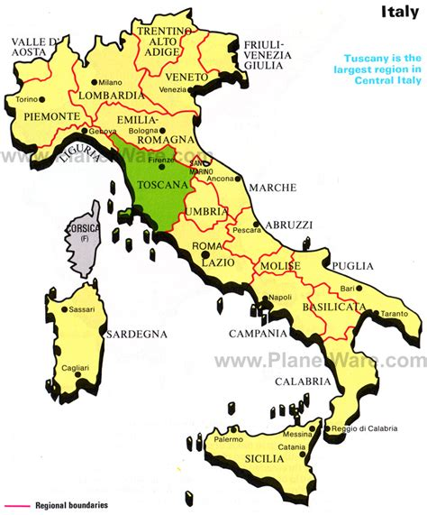 tuscany map map of italy republic planetware