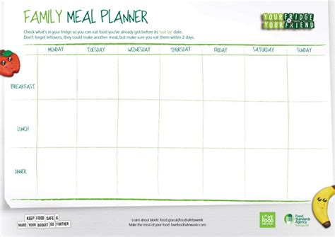 daily food planner template daily meal food planner templates free