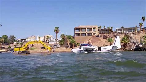 boating license az plane lands on colorado river martinez lake youtube