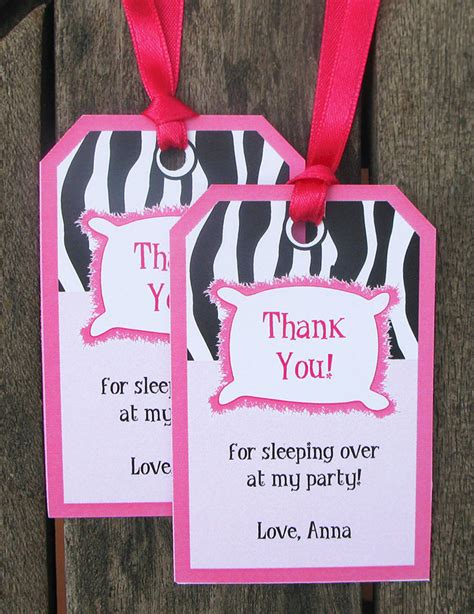 free printable zebra thank you tags slumber birthday party invitations party decorations