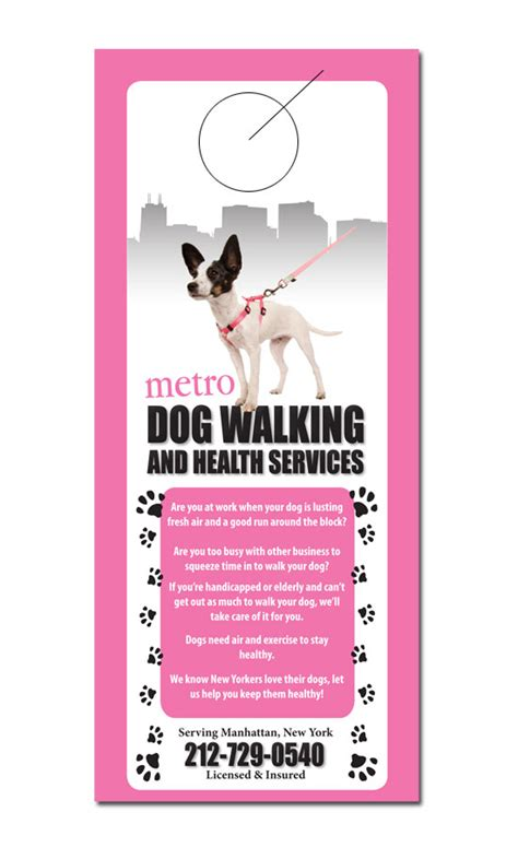 Pet Service Door Hanger Sles Walking Flyer Template Free