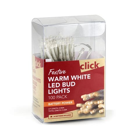 click battery operated led bud lights warm white 100 pack