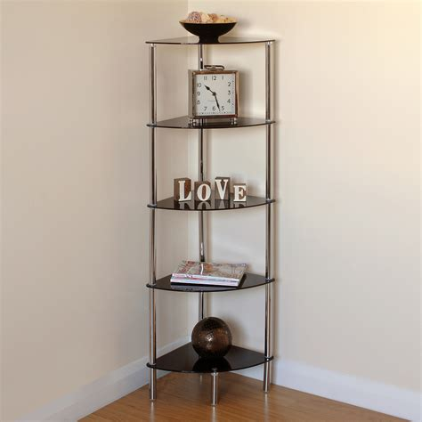 glass bathroom shelving unit hartleys 5 tier black glass side corner shelf display unit