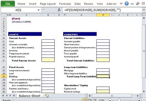 category template exle simple balance sheet maker template for excel