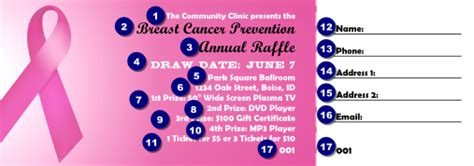 Pink Ribbon Raffle Ticket 002 Ticketprinting Com Breast Cancer Raffle Ticket Template