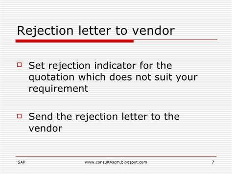 Rejection Letter Price Quote Request For Quotation Rfq