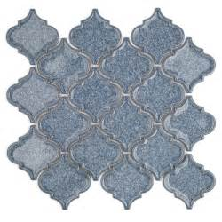 roman brisk blue arabesque glass tile