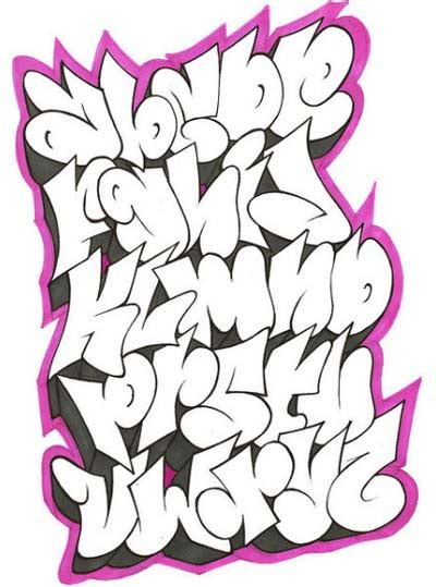 grafiti   graffiti alphabet    shadow pink