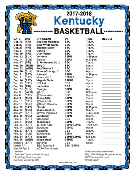 uk basketball schedule spread printable 2017 2018 kentucky wildcats basketball schedule