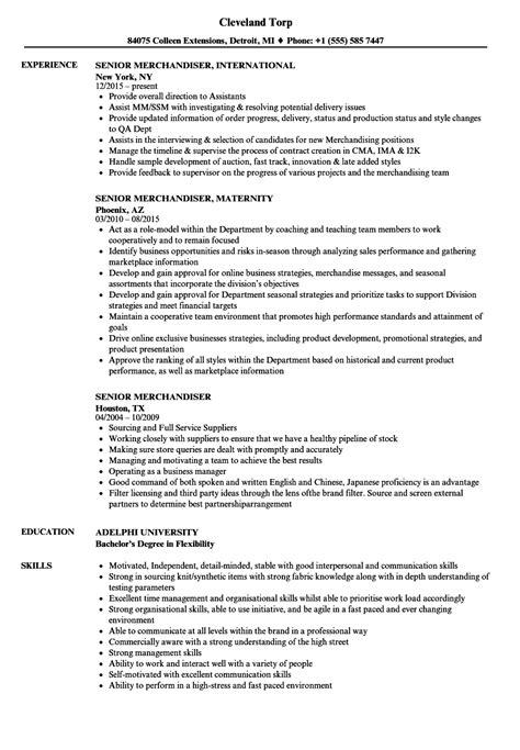 senior merchandiser resume sles velvet