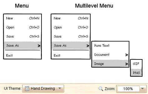 menu layout definition use foreui to design menu in wireframe