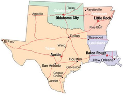 map of louisiana and texas with cities south central map region area
