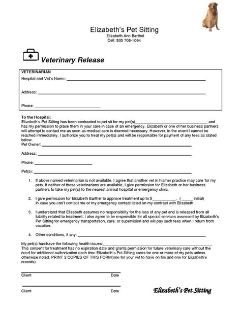 Veterinary Release Form Template 17 Best Images About Pet Sitting On Pinterest Dog Care Free Printables And Medical