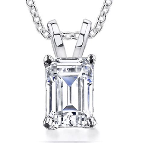 0.70 cr Emerald Cut Diamond Solitaire Pendant Necklace