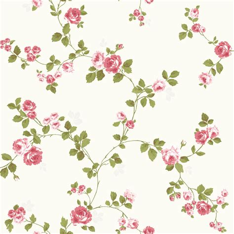 luxury shabby chic vintage pink floral roses trail kitch style cream wallpaper vintage pink