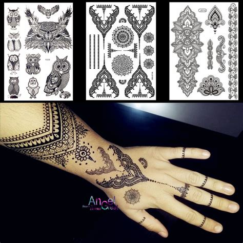 fake henna tattoos lace black henna temporary sticker owl mandala