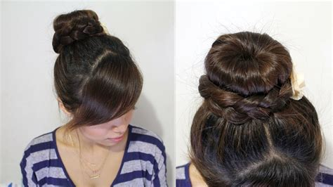 Donut Hairstyles by Braided Donut Hair Bun Updo Hairstyle For Medium Hair