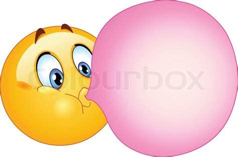 Emoticon blowing a bubble gum stock vector colourbox
