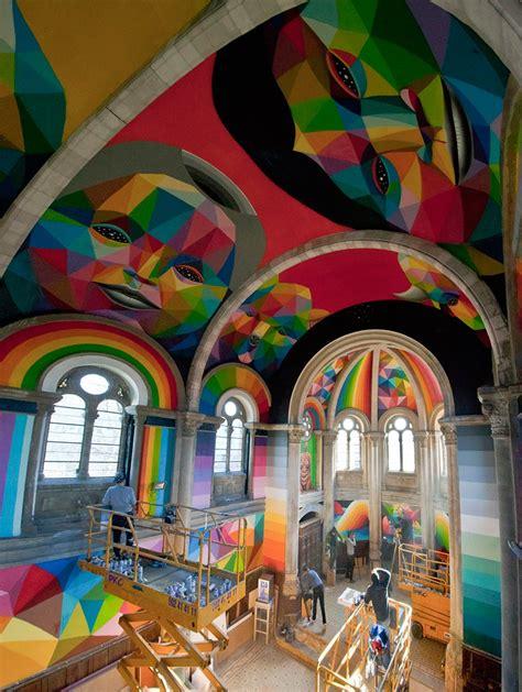 okuda san miguel paints colorful mural  converted