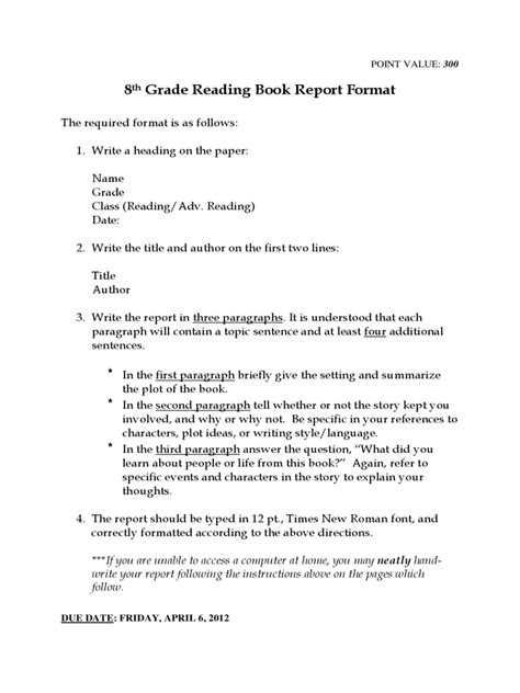 book report exle book report template 6 free templates in pdf word