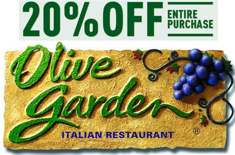 olive garden save 20% off your purchase