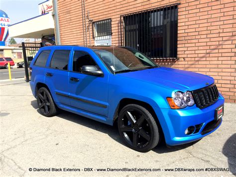 blue jeep grand cherokee srt8 jeep grand cherokee srt8 wrapped in matte blue aluminum by