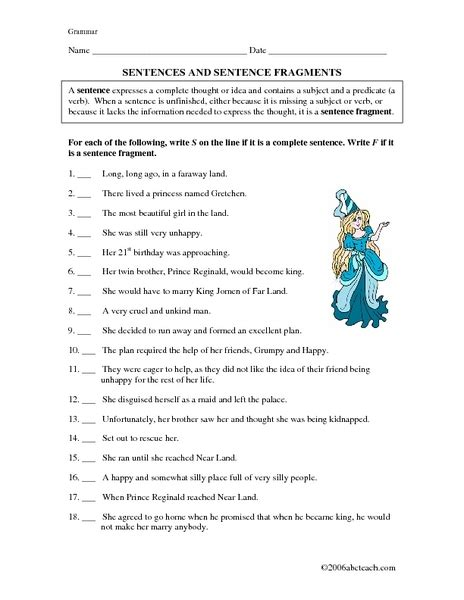 Free Sentence Fragment Worksheets by Worksheets Sentence Or Fragment Worksheet Opossumsoft