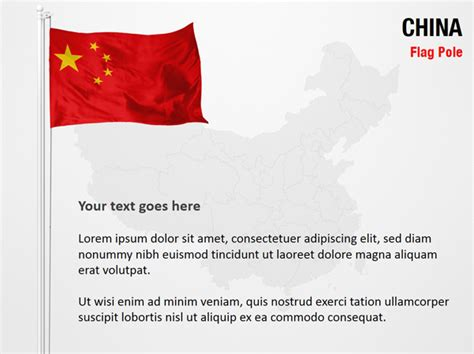 China Flag Pole Powerpoint Map Slides China Flag Pole Map Ppt Slides Powerpoint Map Slides Of China Powerpoint Template