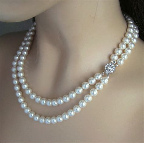 Wedding Jewelry Double Strand Pearl Necklace Pearl Bridal
