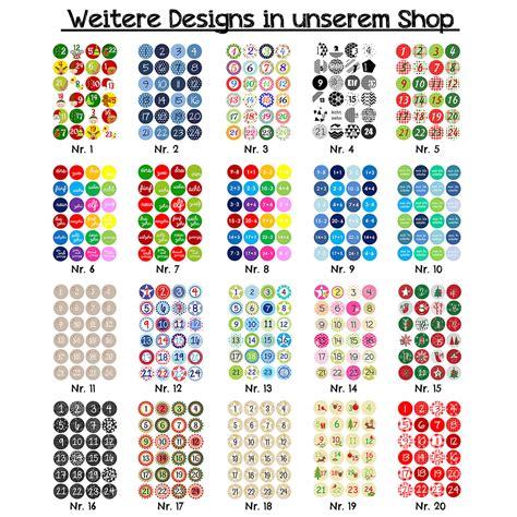 Aufkleber Zahlen by 24 Adventskalender Zahlenaufkleber Design Nr 03