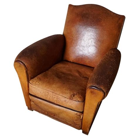 Cognac Leather by Vintage Distressed Cognac Leather Club Chair 1930s At 1stdibs