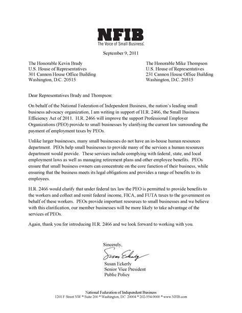 Support Letter Conference National Federation Of Independent Businesses Nfib Supports The Small Business Efficiency Act