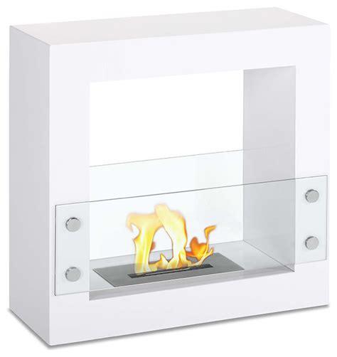 tectum mini white freestanding ventless ethanol fireplace