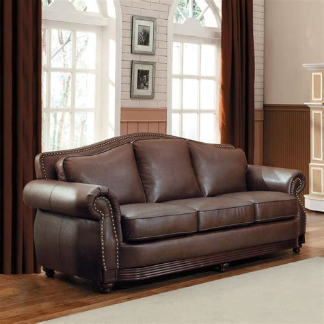 chocolate leather sofa homesullivan kelvington chocolate leather sofa 409616brw 3