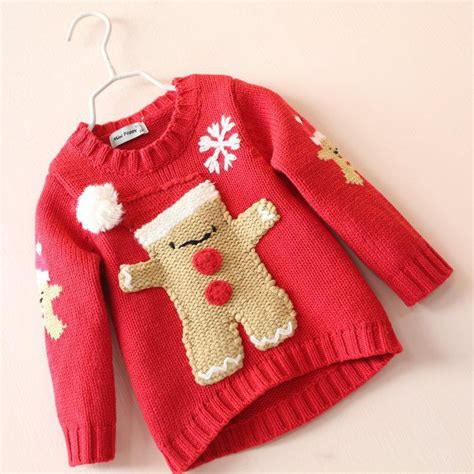 pattern red winter clothes girls christmas knit sweaters baby girl fall winter red
