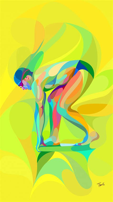 wallpaper swimmer brazilian neofuturistic cartoon
