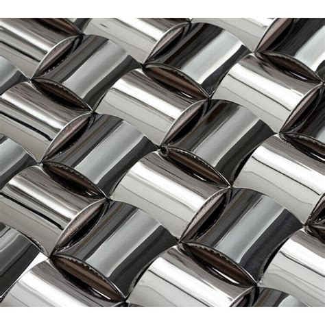 Metal Tiles For Kitchen Backsplash Glossy Stainless Steel Mosaic Tile Interlocking Arched Metal Tiles