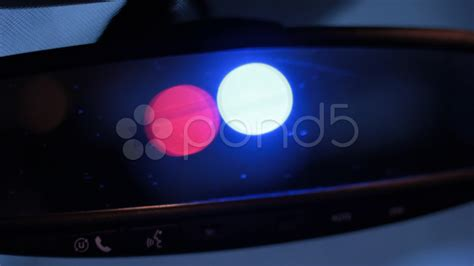 cop lights in mirror rear view mirror with light stock 20641471