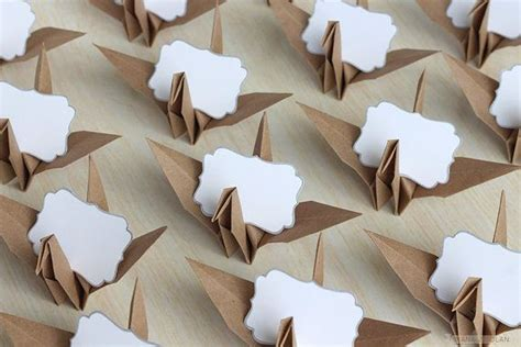 Origami Place Card - 16 name place cards origami paper crane wedding by