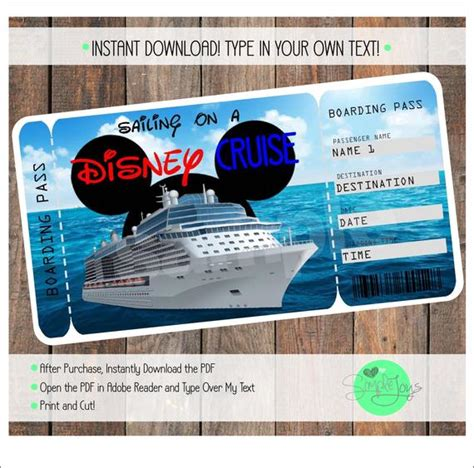 Disney Cruise Printable Ticket Customizable Template Etsy Customizable Pass Template