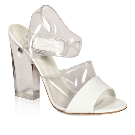 prada s designer shoes glass sandals white and clear