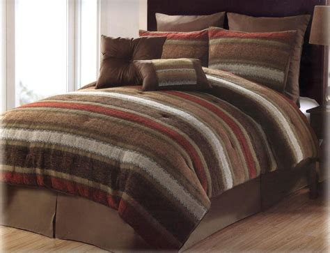 red and brown comforter set 8 pcs victoria classics tacoma chenille stripe comforter